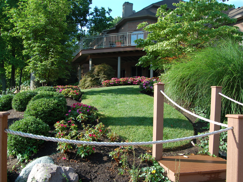 Elegant Deck, Bridge Walkway and Floral Arrangement