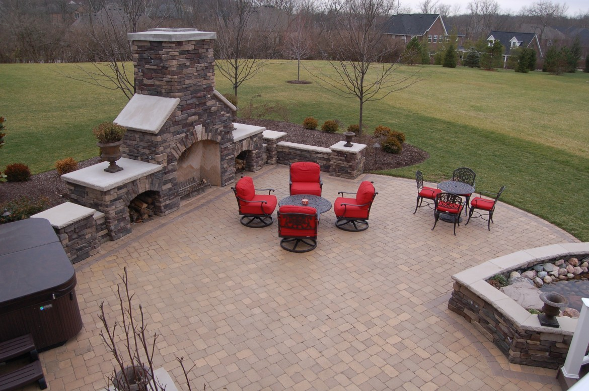 Large Backyard Patio U0026 Fireplace