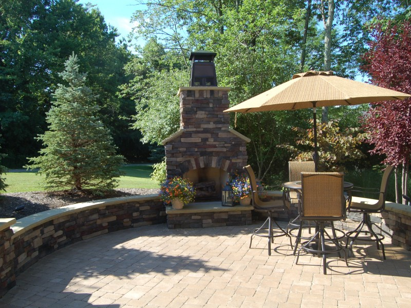 Stone Fireplace & Seating Wall Patio