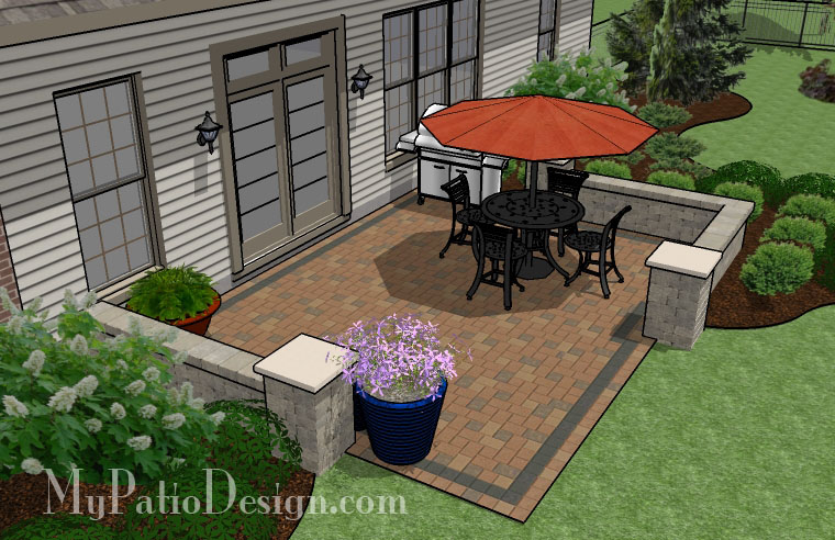 Simple Seating Wall Patio - TinkerTurf