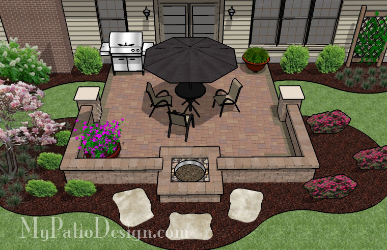 Diy Patio With Fire Pit. Fire Pit In Seating Wall Patio. $8,535 Diy ...