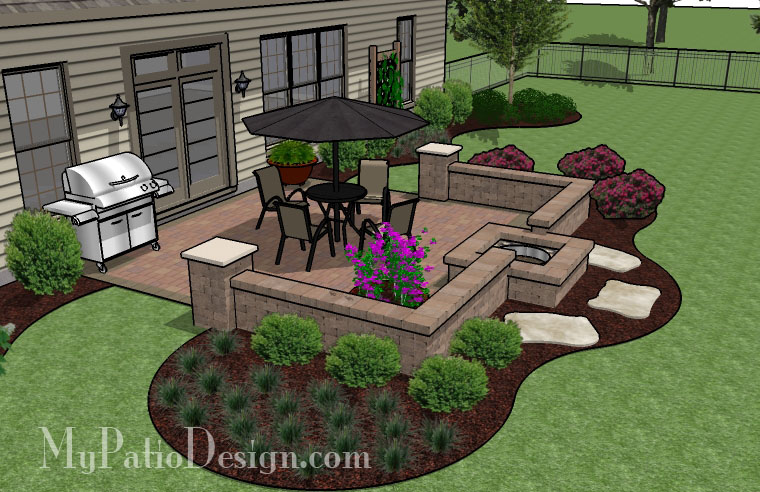 Fire pit in seating wall patio tinkerturf for Patio plans and designs