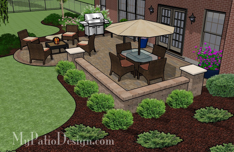 patio shape ideas heres a round flagstone patio design with stone benches boot shape patio 9120 - Brick Patio Design