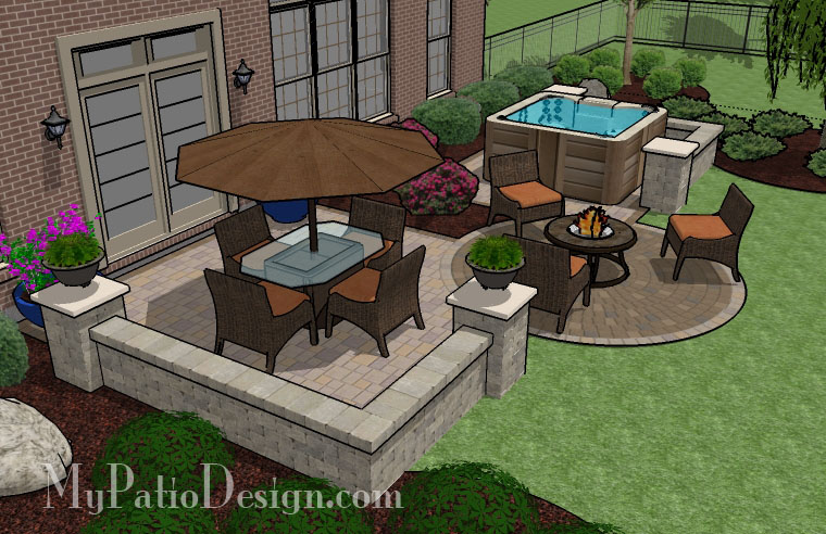 Backyard Hot Tub Patio Designs : PatioDesign1087rr3