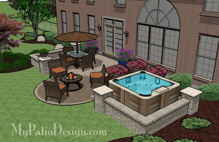Backyard Hot Tub Patio Designs : PatioDesign1087rr4