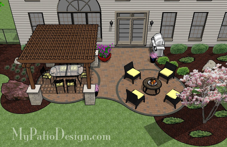 Shaded pergola covered curvy patio tinkerturf for Patio layouts and designs
