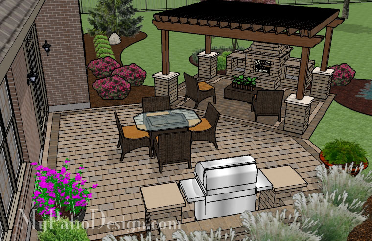 Pergola covered fireplace patio tinkerturf Deck fireplace designs