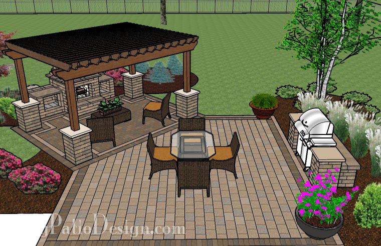 Pergola Covered Fireplace Patio Tinkerturf