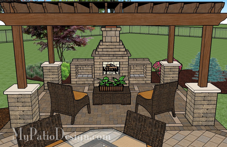 Pergola covered fireplace patio tinkerturf for Outside fireplace plans