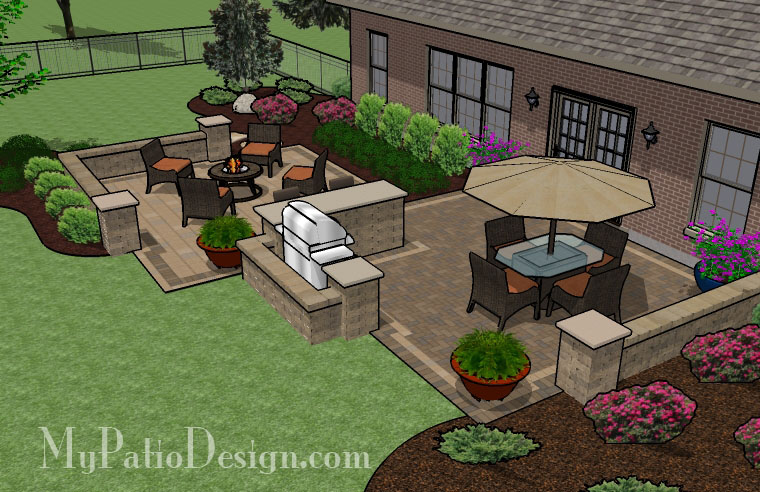 Large barbecue patio tinkerturf for Large patio design ideas