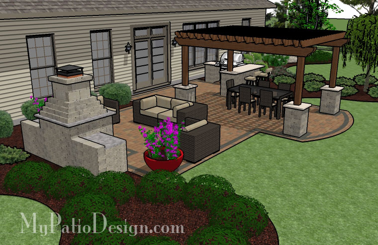 Large unique pergola fireplace patio tinkerturf for Patio layouts and designs