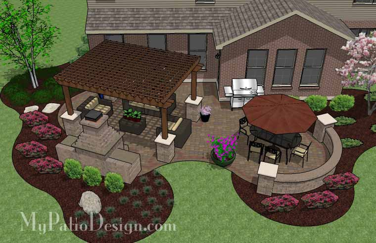 Curvy pergola covered patio tinkerturf for Pictures of patio ideas