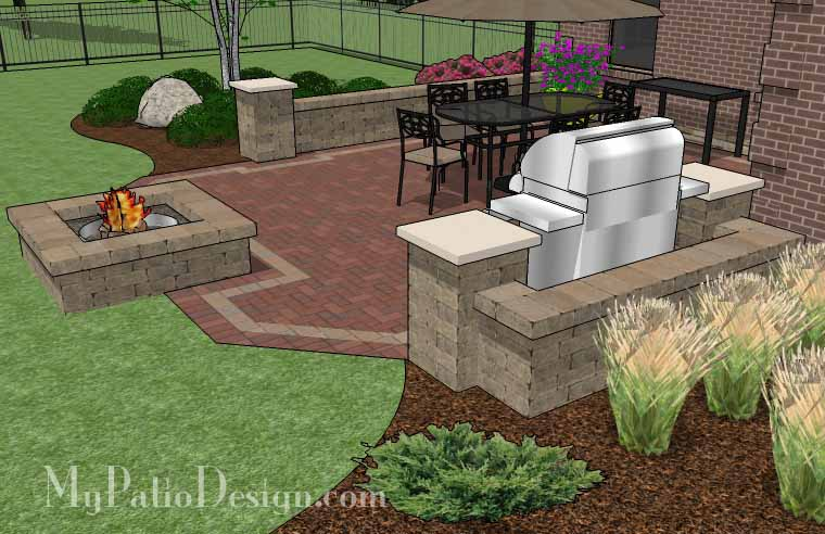 garden design with lshape home patio tinkerturf with backyards designs from tinkerturfcom - Patio Design Ideas With Fire Pits