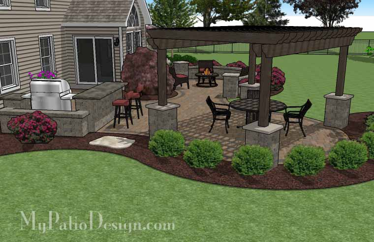 Backyard With Pergola pergola covered curvy patio - tinkerturf