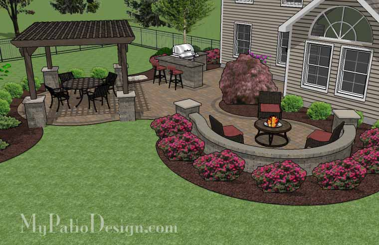 ... Paver Patio Ideas On A Budget By Pergola Covered Curvy Patio Tinkerturf  ...