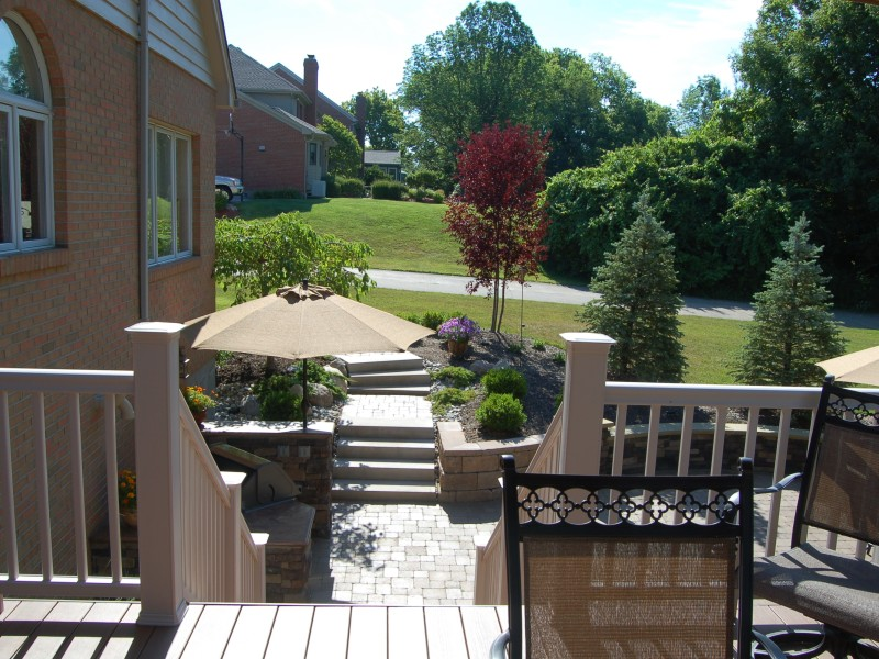 Deck with Stairs Down to Patio